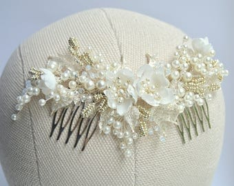 Pearl Silver Bridal Hair Comb, Floral Ivory Wedding Hair Comb, Flower Bridal Hair Piece