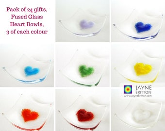 Wedding or Party pack of 24 Heart Bowls gifts, fused glass, rainbow pack, symbol of love, unusual wedding favour, party favor, mementos