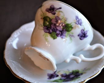 Vintage Yamaka China Demitasse Cup and Saucer - Miniature Tea Cup - Violets