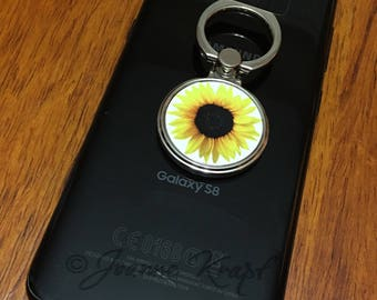 Sunflowers Ring Stand for Cell Phone by Joanne Krapf
