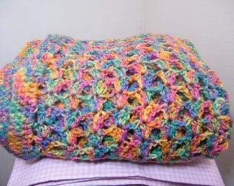 Afghan/blanket crochet/knit multi color throw blanket