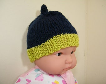 knit/crochet baby hat and bootie navy blue and green -NEW ITEM!!!!