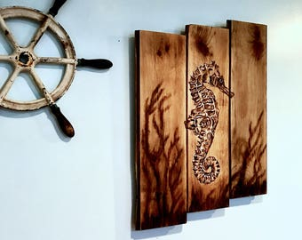 SEAHORSE WALL ART - Nautical Decor - Reclaimed Wood Decor  - Coastal Decor -Beach House Decor - Nautical Wall Art - Seahorse Decor