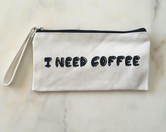 I need coffee canvas wristlet bag iphone bag