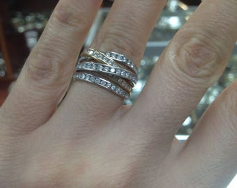 Diamond Stackable Ring, Diamond Crossover Ring, Cluster diamond Ring, Diamond Cluster Ring