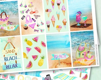 Summer Beach days Planner Stickers / Watercolor beach watermelon ice cream Planner Stickers Collection kit / 3 sheets