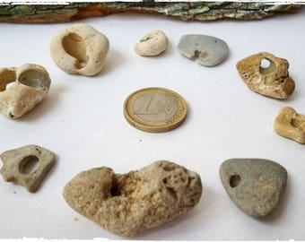 Lot of 9 Natural Holey Beach Stones Sea Rocks pebbles Natural Holey Rare Sea Rock Beach Stone Unusual Shape Decor Collection Awesome  Hole