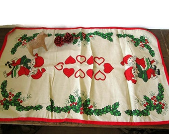 Vintage Swedish Christmas Table Runner Xmas Tablecloth With Gnomes Tomtes Santa Children Red Green White Cotton Holiday Home Decor Gift Idea