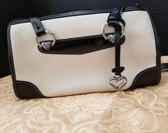 Brighton Leather Ivory with Brown trim