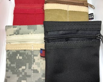EDC Pocket Wallet/Organizer/Pouch Regular Size 1 Slot on one side/2 Slots on the other and Tactical Stylus Flashlights