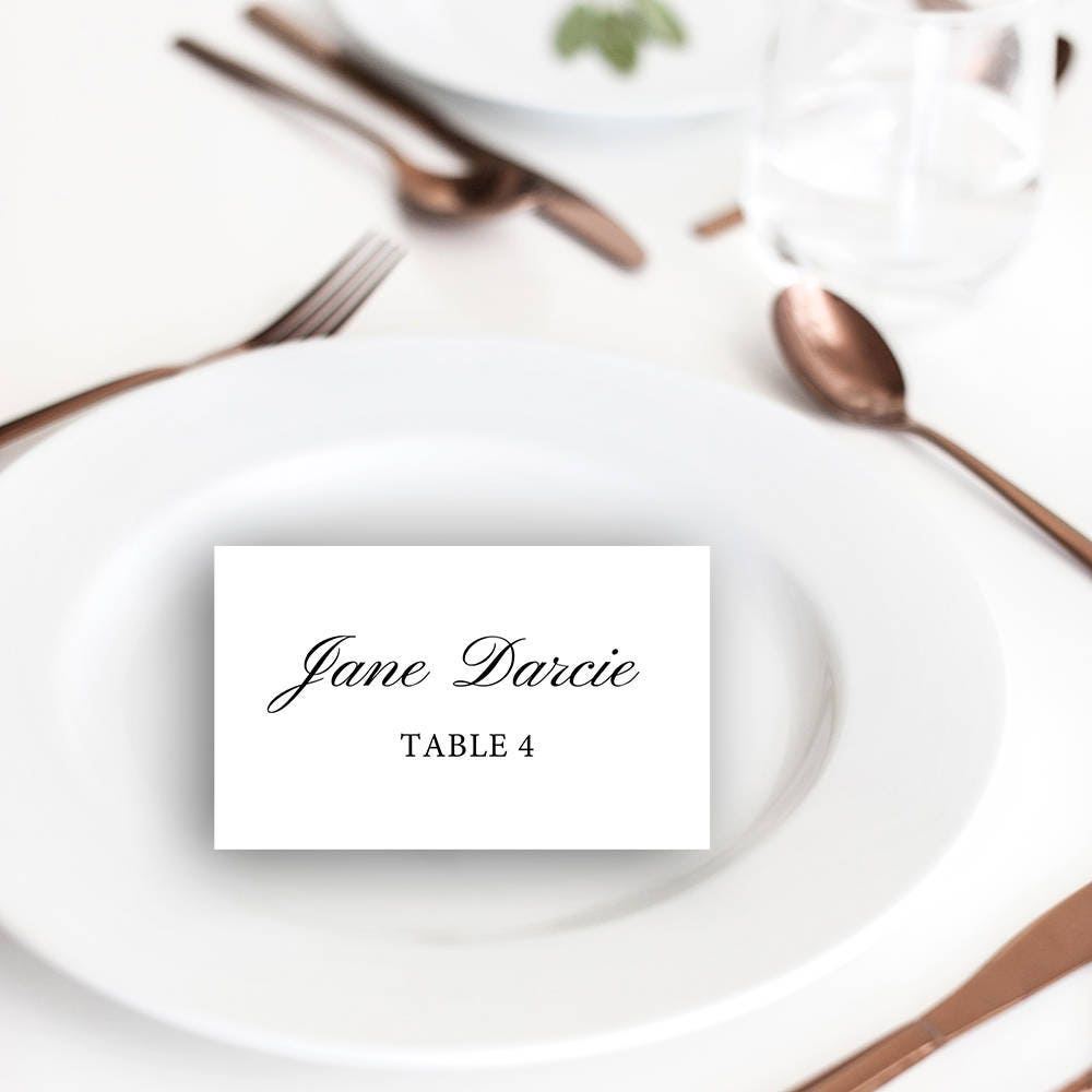 Elizabeth Printable Place Cards Seating Classic Templates DIY Flat Folded Print At Home