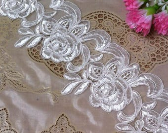 Vintage Black Embroidery Flower Bridal Lace Trim 3.14 Inches Wide 1 Yard/ Craft Supplies, WL1760