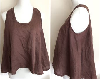 Linen Crop Tank Top High Low Asymmetrical Boho Brown Vintage 90s  Hi-Lo Drapey Oversized Cropped Size Medium M