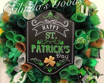 Ready to SHIP! St Patricks Day Wreath, St Pattys Day Wreath, St Patricks Day Mesh Wreath, St Patricks Decor, St Pattys Decor