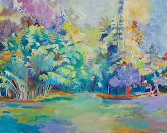 Bamboo, Original Watercolor Landscape, Digital Print