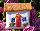 Unique One of A Kind Handmade Wet Merino Wool Felted Irish Cottage Themed Embroidered Handbag