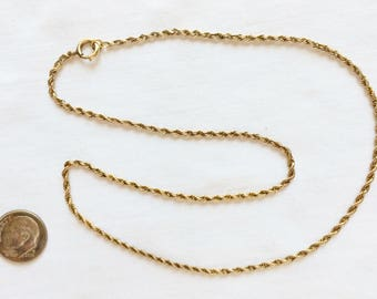 "Estate 14k HEAVY Yellow Gold Rope Chain Necklace 17"" Long Victorian 1920's 1930's 14kt Solid 14 k kt 6.8g 2.5 mm wide Spring Ring Clasp Link"