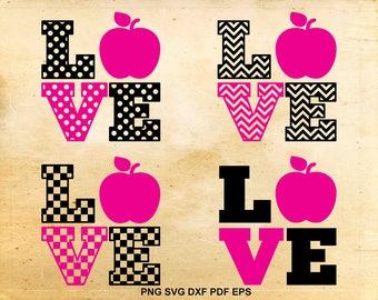 Teacher love svg, Love school, Apple svg file, School teacher, 1st grade, Back to school, Cut files for Silhouette, Teacher appreciation svg