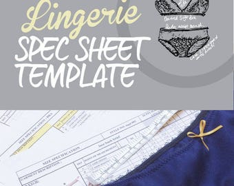 Spec Sheet Template for Bras and Briefs