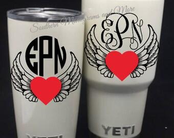 Heart and Angel Wings Monogram Decal,Vine Monogram Decal,Circle Monogram Decal,Yeti Cup Decal, Personalized Heart and Angel Wings Decal