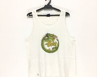 Vintage STUSSY Green Dragon White Tank Top Made In USA Big Logo Spell Out Size M