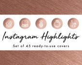 Instagram Story Highlight Icons - 45 Shiny Rose Gold Covers | Fashion, Beauty, Lifestyle, Decor, Craft, Handmade, Bloggers, Influencers