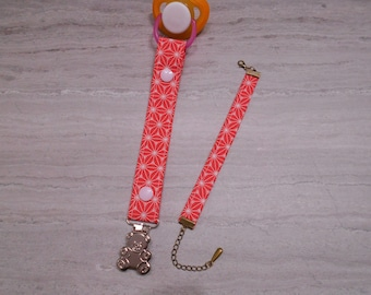 Pacifier cotton Strawberry geometric pattern and bracelet for MOM