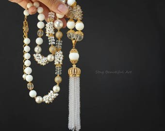White Necklace Agate Rock Crystal Pearls Giant Clam Tridacna  Necklace Cubic Zirconia paved Details White and Gold Gemstone Tassels Necklace