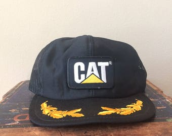 Vintage CAT Mesh Trucker Snapback Hat with Gold Leafing (Caterpillar)