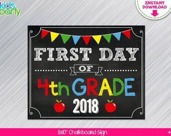 INSTANT DOWNLOAD First Day of 4th grade School Sign Print Yourself, First Day of Fourth Grade Chalkboard Sign Digital File