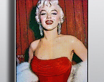 Marilyn Monroe Comic Book Drawing Pop Art Print, Monroe Old Hollywood Digital Instant Download