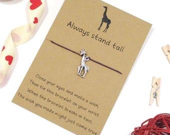 giraffe wish bracelet, friendship bracelet, charm bracelet, cord bracelet, giraffe jewellery, string bracelet, friend gift, animal bracelet