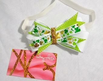 "St. Patrick's Day bows, baby bows, baby headbands, ""Patty"""