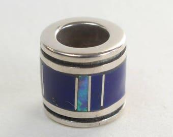Inlaid Pendant Barrel Native American Sterling Silver Pandora Like Bead Lapis Opal Inlay