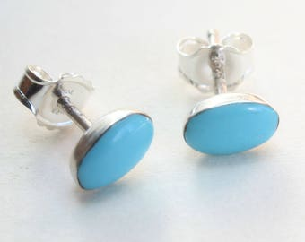 Sterling Silver Studs Turquoise Earrings Zuni Indian Native American Small Tiny Oval