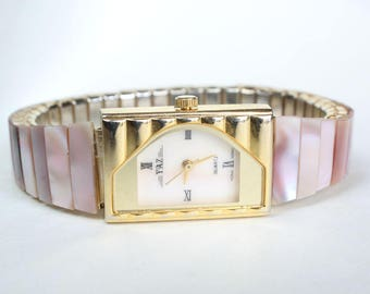Pink Mother of Pearl Natural Real Watch Stretchy Band Real Stone Band Watch for Her Gift Gemstone Womens Gift