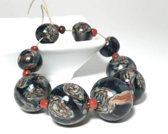 Handmade Polymer Clay Beads, Quilt Pattern Bead, Boho Beads, Necklace Bracelet Supply, Beads For Jewelry, Autumn Color Beads, Matbled Bead