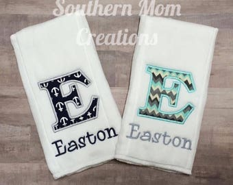 monogrammed baby burp cloth set, burp cloth combo, monogrammed burp rag, monogrammed burp cloth,