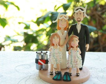 Customized Scuba Diving Wedding Cake Topper, Personalized, Scuba Cake Topper Family Couple Bride and Groom Figurines Wedding Centerpiece