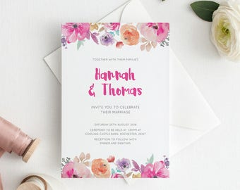 Printable Wedding Invitation/ RSVP/ Save the date/ Thankyou card/ PDF/ Download/ Custom/ Floral/ Watercolour/ Hannah suite #057