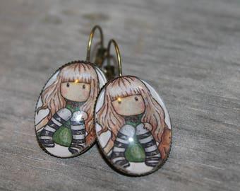 The little Elf - earrings oval metal color bronze