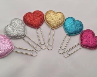 Heart planner clip, bookmark, paper clip