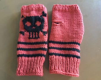 Knitted with skull cut mittens.