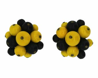 1950s Navy Blue and Yellow Glass Bead Vintage French Earrings