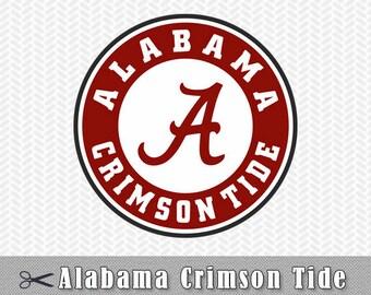 University Alabama Crimson Tide Monogram Logo Layered SVG Dxf Vector File Silhouette Studio Cameo Cricut Design space Stencil Vinyl Decal