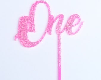 """Ready to Ship, """"One"""" Cake Topper in Pink Glitter (Small)"""