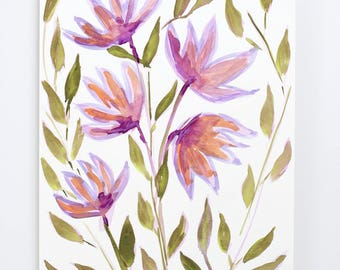 Purple Flowers Original Painting / Acrylic Watercolor / Florals