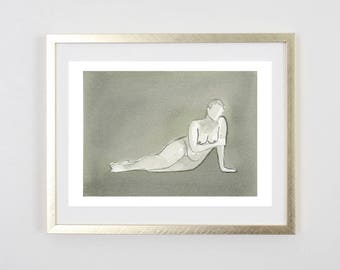 Grey Lady Art Print /  / Figure Painting / Print of Original Watercolor / Naked Lady Art / Nude Drawing