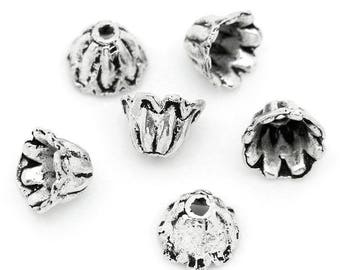 20 pc Antique Silver Hollow Flower Bead Caps 7x5mm