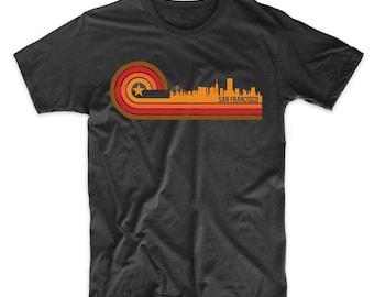 Retro Style San Francisco California Skyline T-Shirt
